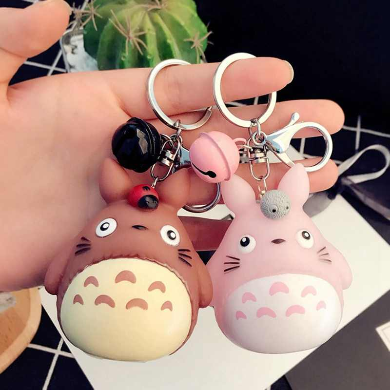 My Neighbor Totoro Doll Key Chains Animal Chinchilla Keychain With Sound Charm Pendent Keyring Car Bag Charms Purse Accessory