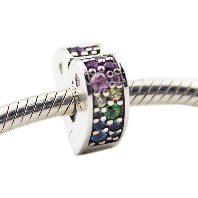 Fits pandora Bracelets New original 925 Sterling Silver Multi-Colored Arc Of Love Clip, Multi-Colored Crystals Beads DIY making