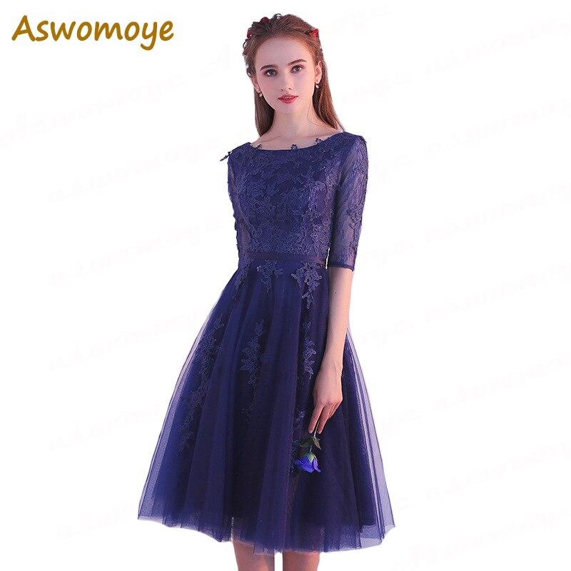 Aswomoye элегантный Для женщин вечернее платье короткое 2018 новый A-Line с цветочной аппликацией вечерние платье со шнуровкой сзади вечернее плать...