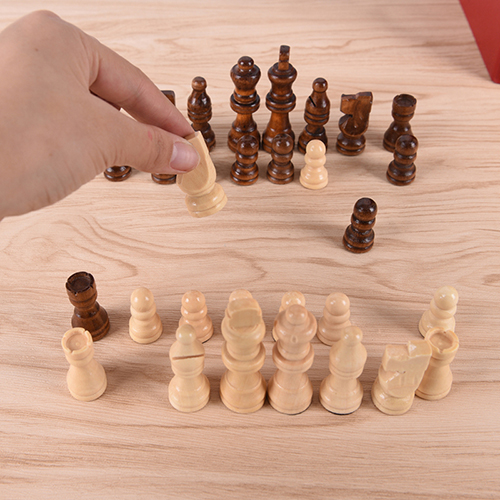 32Pcs/Set 64Cm Height Wooden Terra Cotta Figure Chess Set Entertainment Checkers Chess Traditional Games 36 4 33cm cotta warrior chess q edition journey to travel cartoon characters chinese chess set chess lovers collection good gift