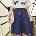 2016 del envío del nuevo de la llegada denim faldas una línea de vaqueros botón frontal falda jupe mujeres rodilla-longitud de la falda de jean saia
