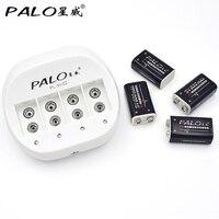 PALO 4 Slots LED For6F22 9 v Carregador de Bateria Inteligente Bateria De Lítio + 4 pcs 9 9 v v 600 mah Bateria Recarregável de Li ion Ambientalmente|battery charger|lithium battery|rechargeable battery -