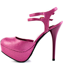 Hot Pink Embossed Leather Women Pumps Ankle Strap Peep Toe Thin High Heel Stilettos Chaussure Femme Talon Pumps Made-to-order