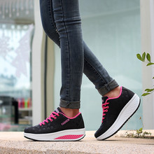 Fashion Height Increasing Summer Air Mesh Shoes Women's Casual Shoes Walking Shoes Women Swing Wedges Shoes Breathable