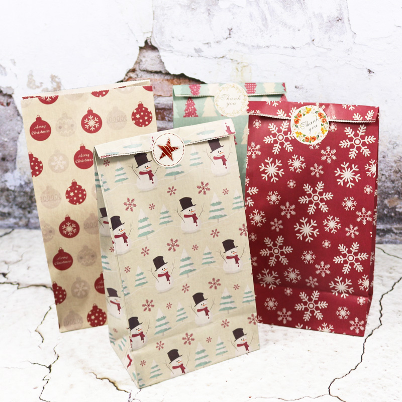 Paper-Bag Favor-Stand-Bags Snowman Cookie-Gift Merry-Christmas Birthday-Party 5pcs