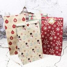 5 шт снежинок Счастливого Рождества Бумажный Мешок Снеговик Рождественская елка еда печенья Подарочная упаковка мешок день рождения пользу Стенд сумки