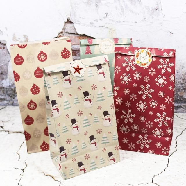 5 Pcs Sneeuwvlok Vrolijk Kerstfeest Papieren Zak Sneeuwpop Kerstboom Voedsel Cookie Cadeau Verpakking Birthday Party Bag Favor Stand Zakken