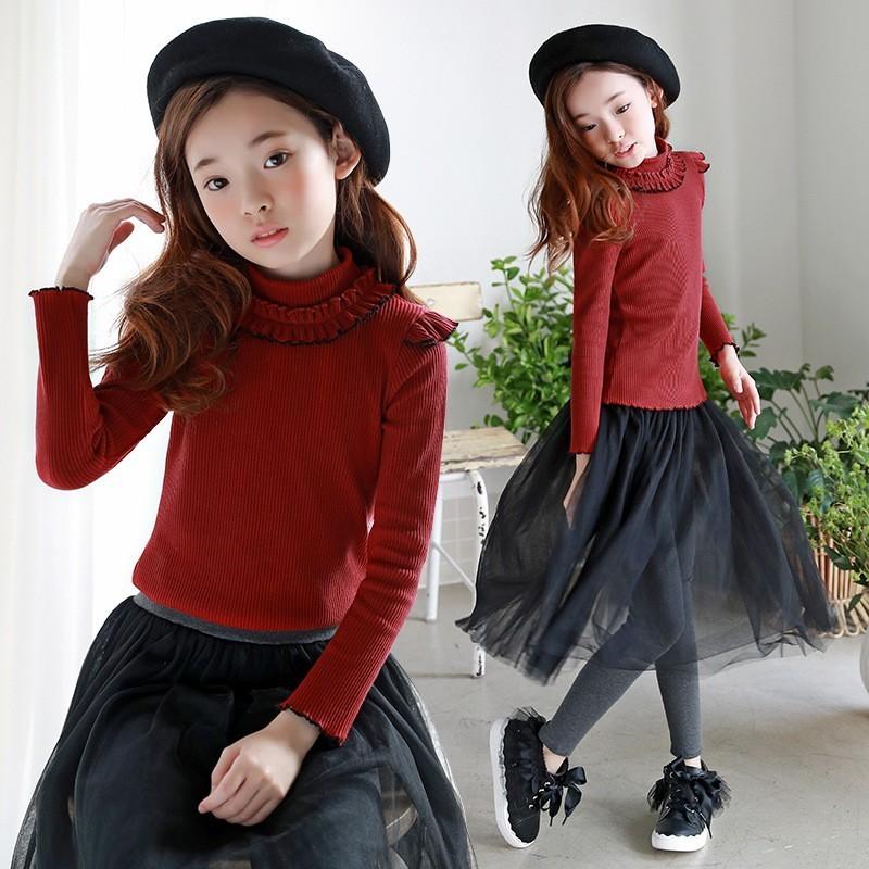 Christmas High Neck Kids T Shirt Long Sleeves Fashion Little Girl T-Shirt Clothes Red Teen Children Tee Shirt Autumn Winter Tops все цены