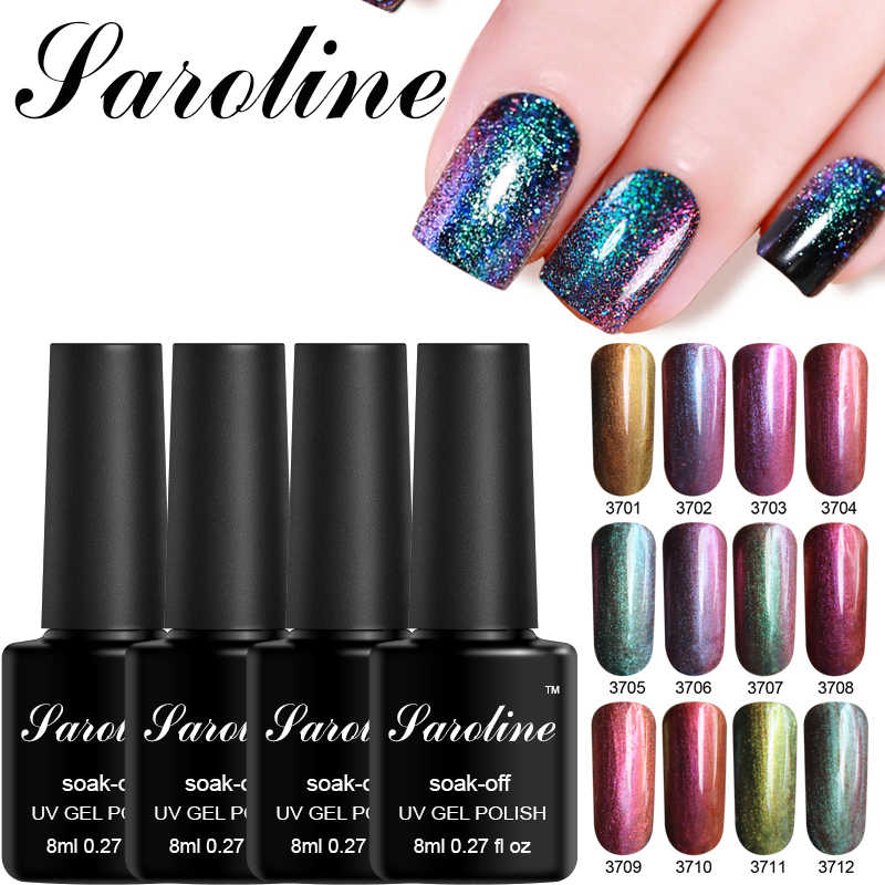 Saroline camaleón colores UV Gel esmalte de uñas 8ml Semi-permanentemente brillante superficie uñas arte remojo UV barniz de Gel para manicura