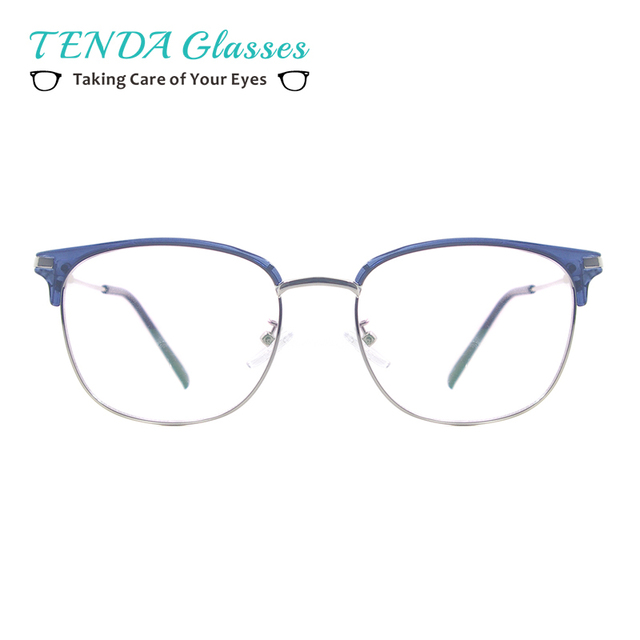 ca1384cc2ec Men Plastic Metal Half Rim Eyeglass Frame Women Round Vintage Glasses For  Prescription Lenses Myopia Reading