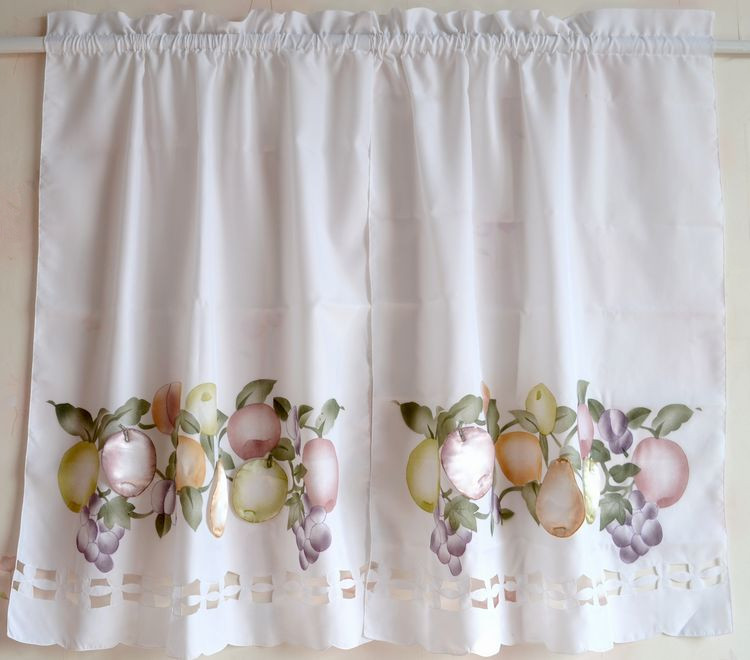 European Style Window Curtains Tier Set Stereo Fruit Decorative For Kitchen Door Bedroom