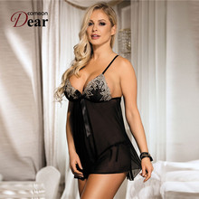 Comeondear Sexy Lingerie Women Embroidery Lenceria Erotica Bow-Knot RK80409 Ropa Sexy Mujer Erotica See Through Lace Pajamas
