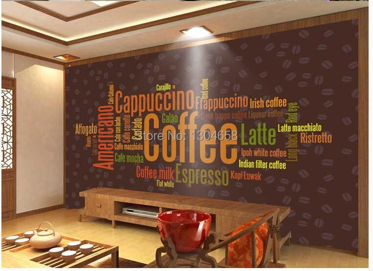 Papel pintado moderno 3 d personalizado, pinturas de icono de letras de café para sala de estar restaurante cafetería tienda pared impermeable papel pintado de PVC