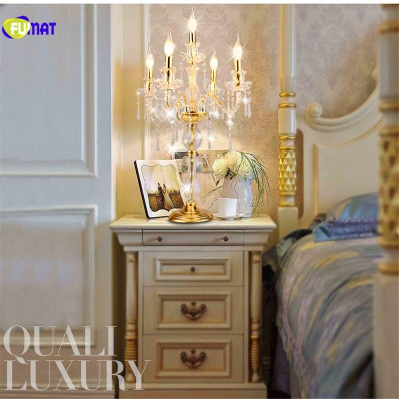 Европейский Стиль Роскошный Свечах Кристалл K9 Настольная Лампа Спальня Прикроватные Настольные Лампы Свадебный Освещения LED E14 5 Свет