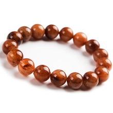 цены 11mm Genuine Brazil Natural Copper Rutilated Quartz Crystal Stretch Round Bead Bracelets For Women And Men