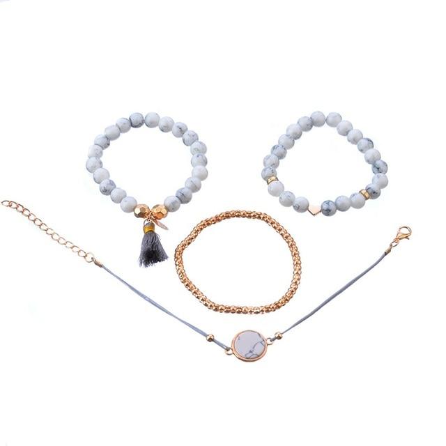 4 Pcs/ Set Bohemian charm bead Bracelet Women tassel Bangles gold heart Bracelets Sets Jewelry Party Gifts 4