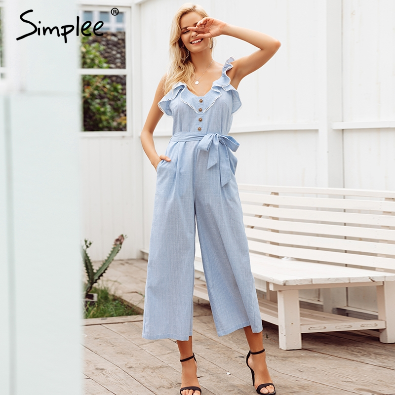 Simplee Ruffled cotton linen women   jumpsuit   playsuit Sleeveless button   jumpsuit   casual Summer wide leg overalls   jumpsuit   long