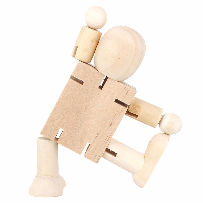 Wooden Robot Graffiti White Toys Painting Puzzle Activities Billet Deformation-Joint