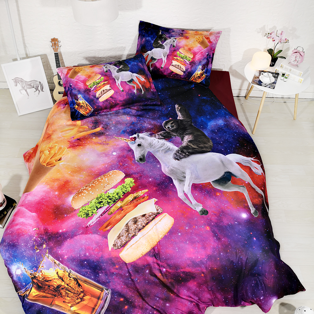 JF-533 kids juniors bedding 4pcs colorful galaxy bed sheets with sloth riding white unicorn duvet cover set single full queen
