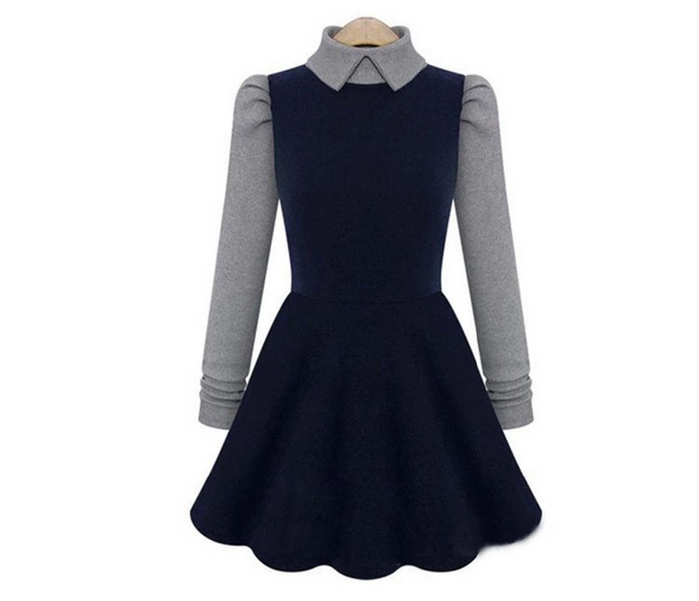 Plus Size Long Navy Dress with Sleeves