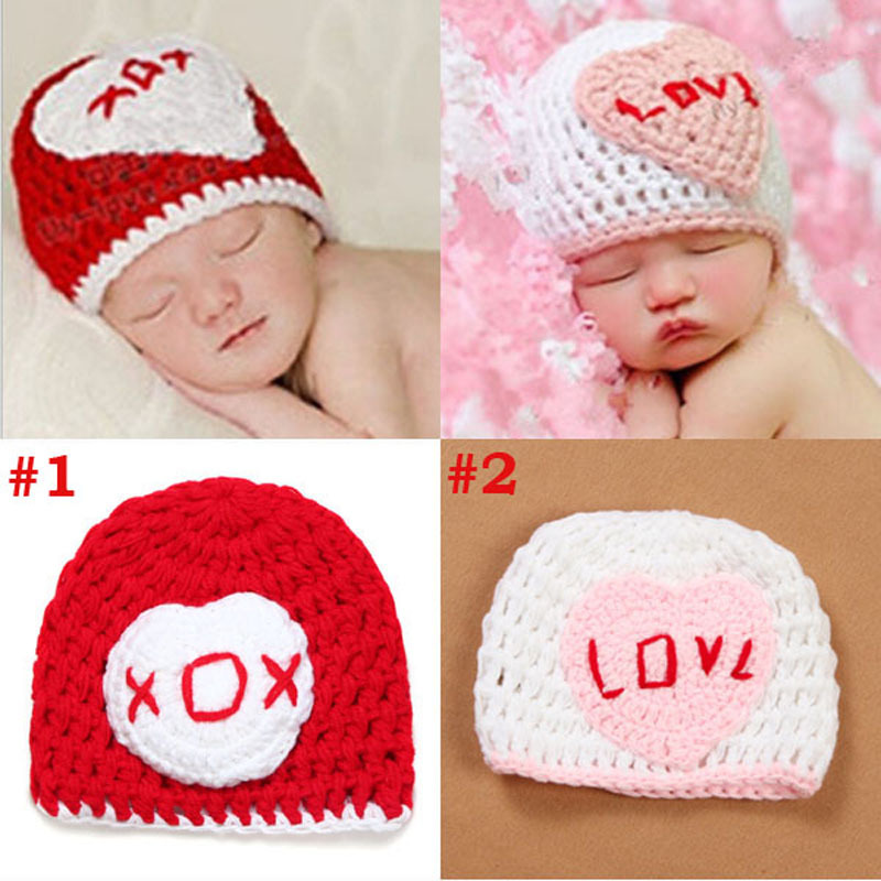 Crochet Knit Baby Beanie Hat Sweet Heart Childrens Hat Newborn Photography Props Handmade Infant Cap Retail H091