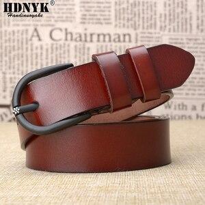Image 3 - Cinturón de cuero de vaca de alta calidad para mujer, cinturón Retro, informal, a la moda, salvaje
