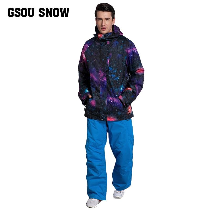 Gsou snow Plus Size Men Skiing Ski-wear Waterproof Hiking Outdoor jacket Snowboard jacket Ski suit men Large Size Snow jackets men ski brand snowboard costume skiing suit sets waterproof