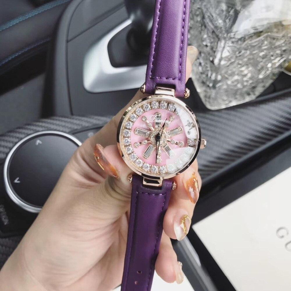 Petite taille femmes strass fleur filature montres cristaux intérieurs bonne chance montre rotative étanche Quartz montre-bracelet en cuir