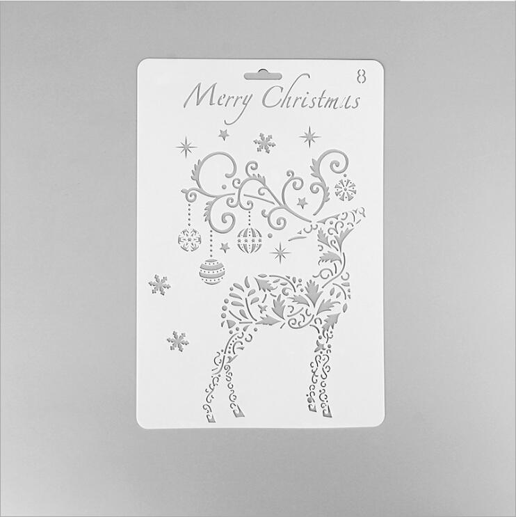 ENO Greeting Merry Christmas Plastic Stencil Reindeer Stencil Template For Card Making Poster Stencil Christmas Decoration