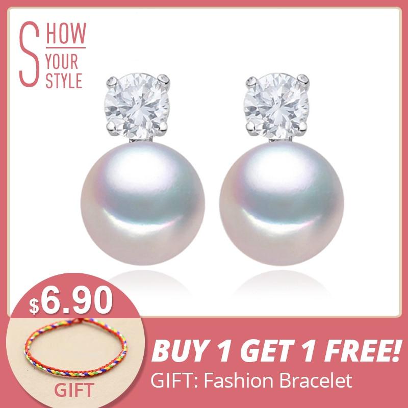 FENASY pendientes de botón, pendientes de perlas de agua dulce para - Joyas