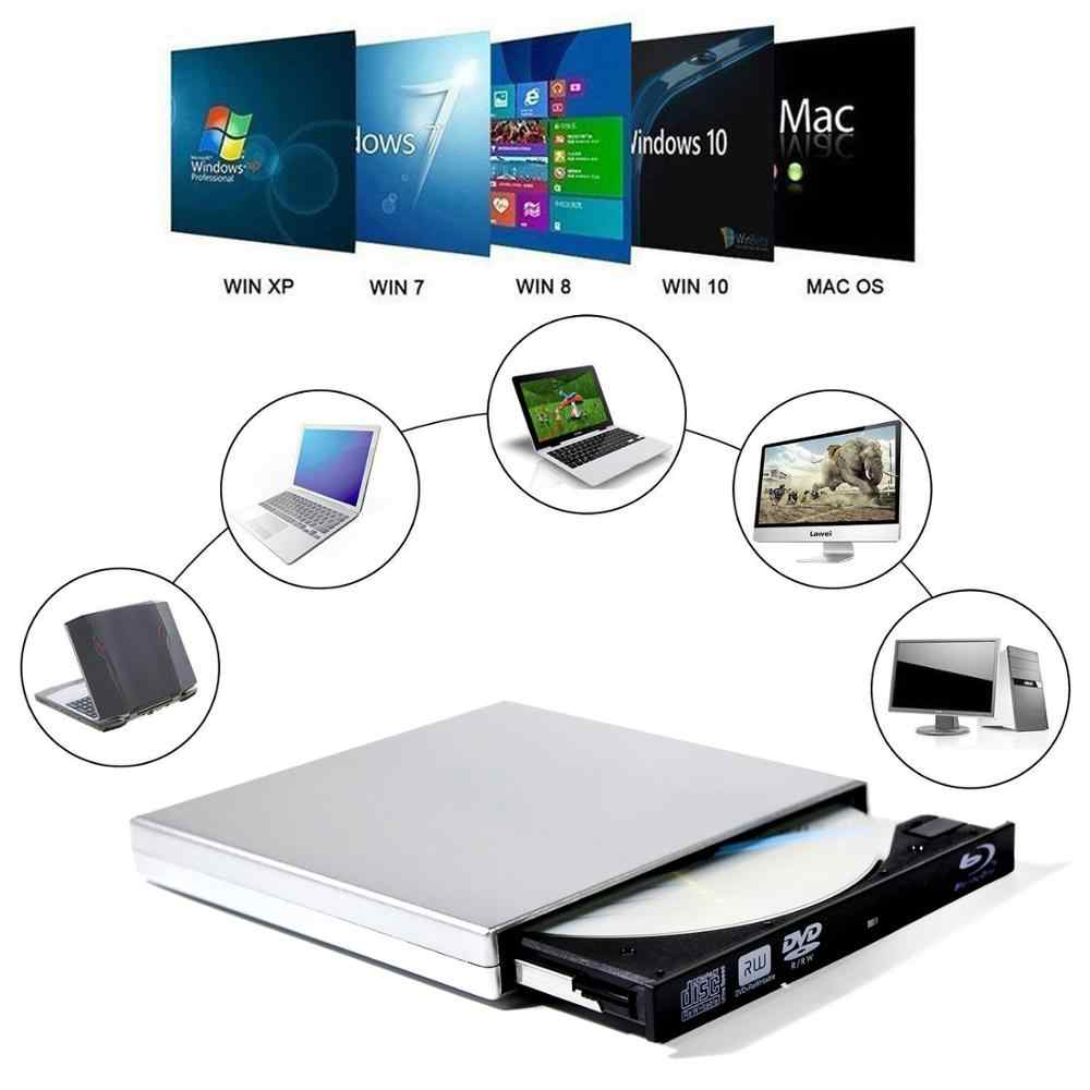 YiYaYo ブルーレイドライブ USB 2.0 DVD RW バーナーライター BD ROM ブルーレイドライブ CD ROM プレーヤーラップトップコンピュータデスクトップウィンドウ 10 iMAC