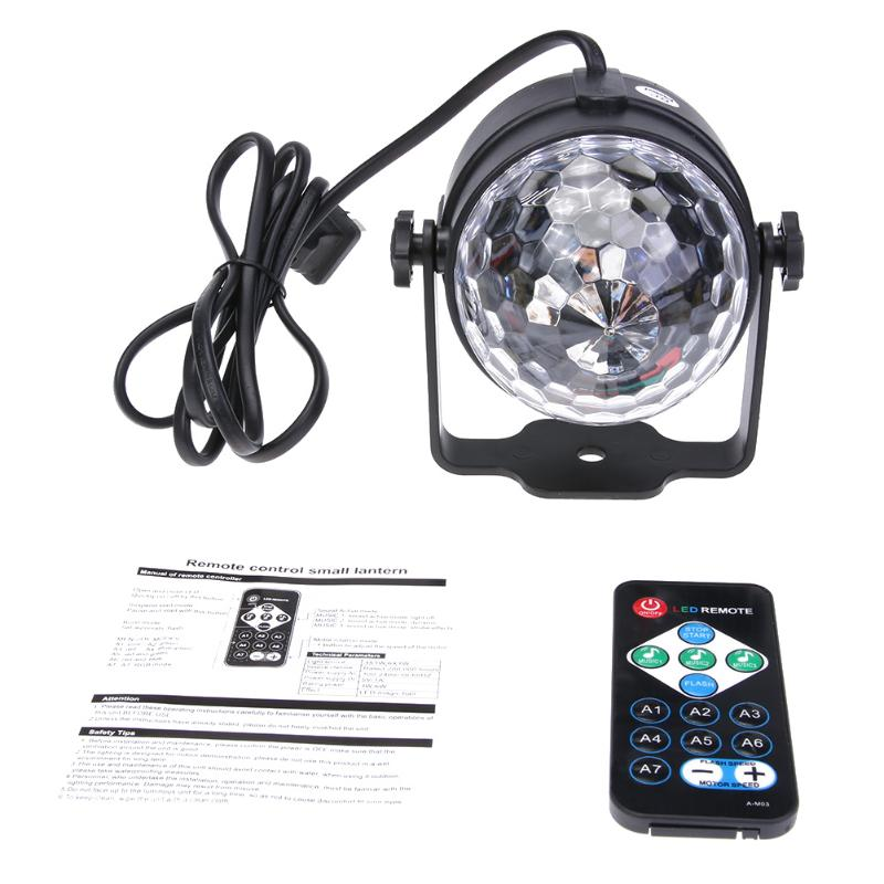 LED Stage Lamps Crystal Magic Ball Sound Control Stage Effect Projector Laser DJ Party Atmosphere Light With Remote Control rg mini 3 lens 24 patterns led laser projector stage lighting effect 3w blue for dj disco party club laser