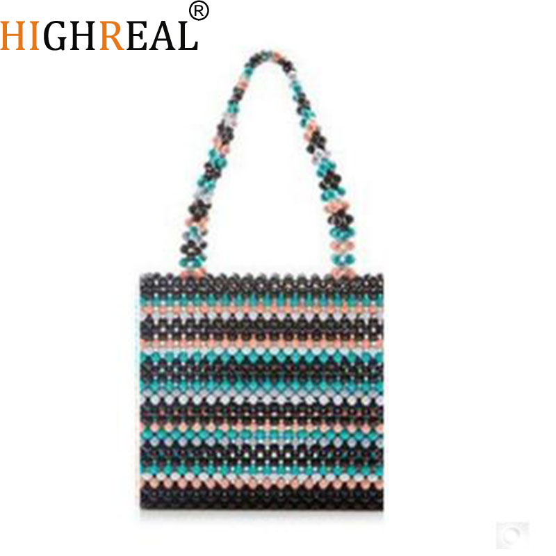 Sac de luxe Design perlé sac tissé à la main pour femmes sac casual mignon petit sac fourre-tout rétro dame sac à main Pet paquet perle