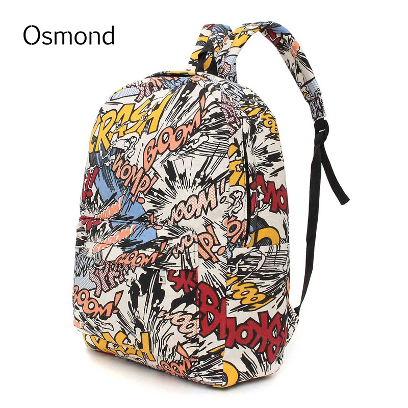 Hippie Canvas Backpacks Student School Bag Graffiti Backpack Cartoon Print Rucksack Travel Pack Laptop Graffiti Bolsa Mochila