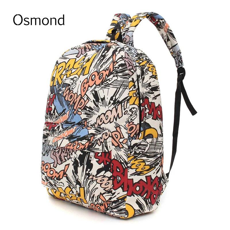 Hippie Canvas font b Backpacks b font Student School Bag Graffiti font b Backpack b font