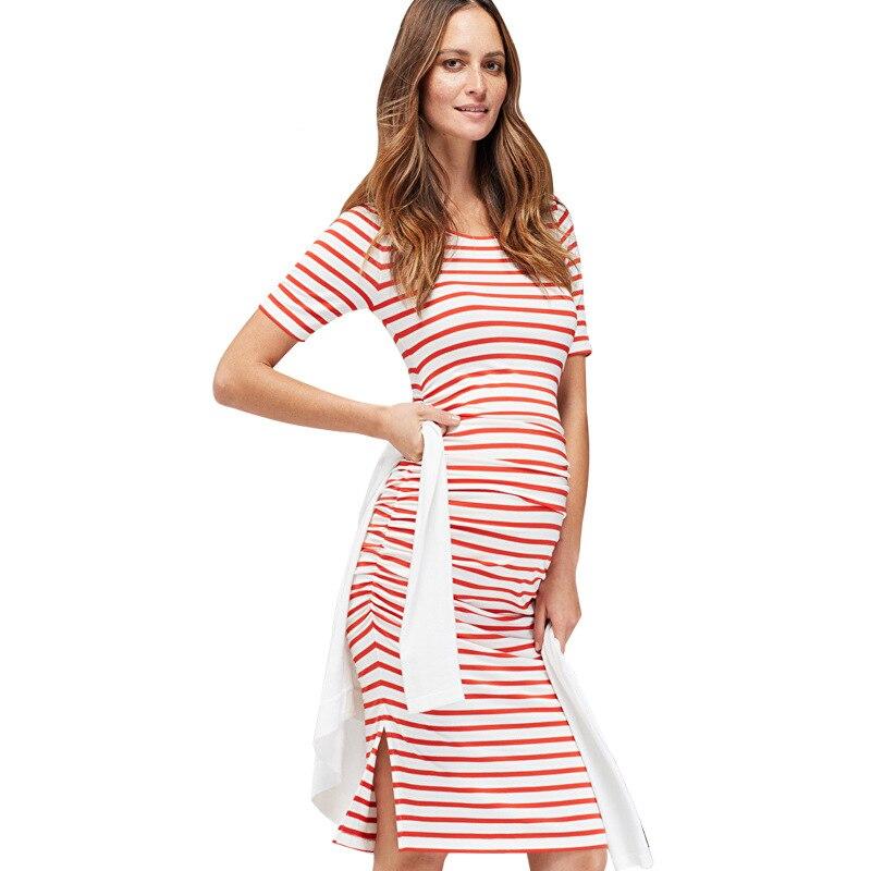 Summer Casual Striped Pregnancy Dress Maternity Clothes for Pregnant Women Knee-length Elastic Maternity Dress Women Vestidos