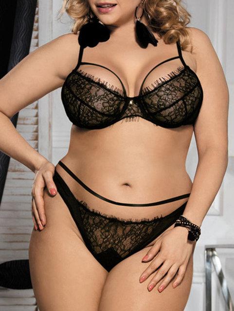 0d78ad8d10 Plus Size Sexy Black Lace Bralette Briefs Set Underwire Lingerie Balcony Women  Bra Set Bras Adjustable