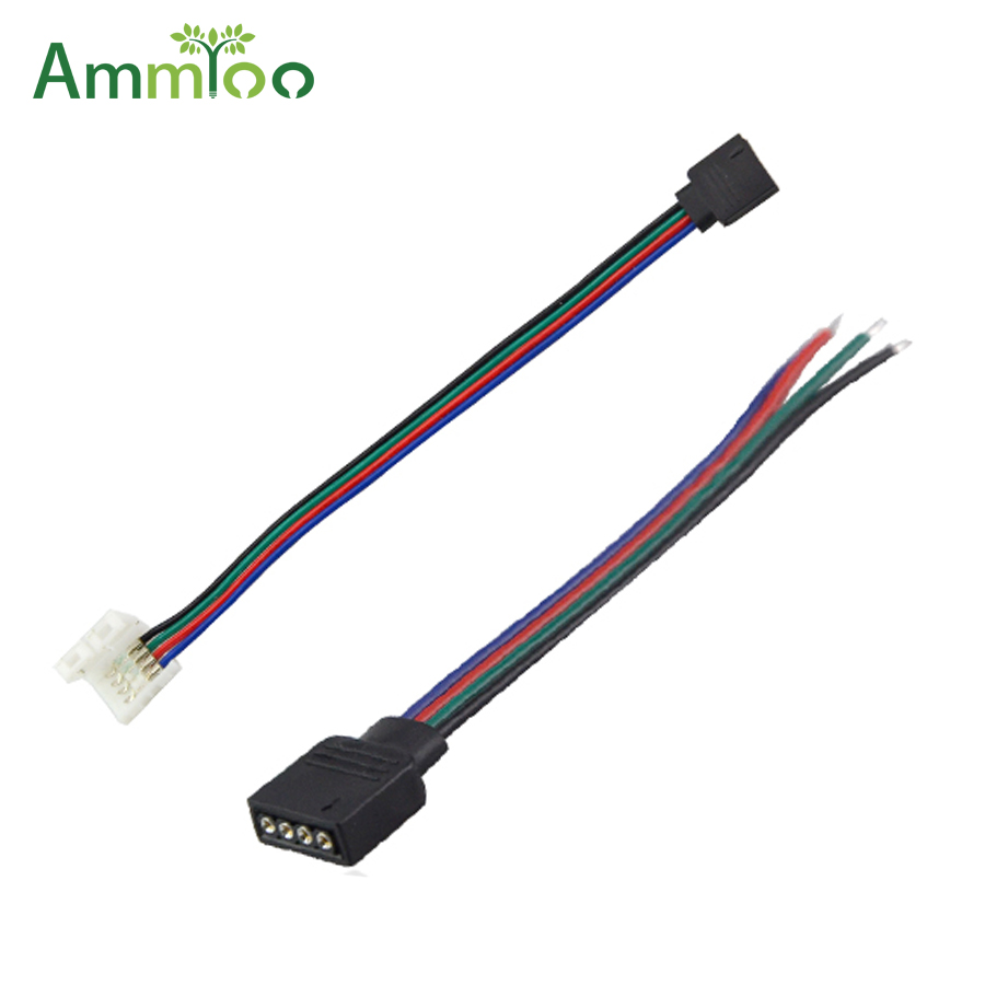 AmmToo 5Pcs 4Pin RGB Led Strip Wire Cable No Soldering Connect For RGB 5050 3528 Led Tape Ribbon Lamp Accessories AmmToo 5Pcs 4Pin RGB Led Strip Wire Cable No Soldering Connect For RGB 5050 3528 Led Tape Ribbon Lamp Accessories