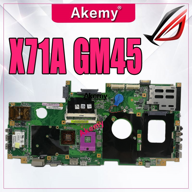 X71A Laptop Motherboard For ASUS M70VM  M70VN M70V Test Original Mainboard GM45 Integrated Graphics