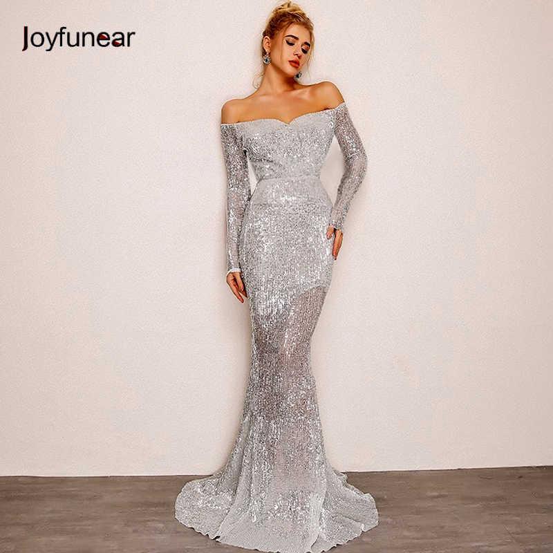 00c2cd98d60e Joyfunear осеннее женское длинное вечерние платье 2018 скидка должно  блестки платье серебряное в пол русалка платья