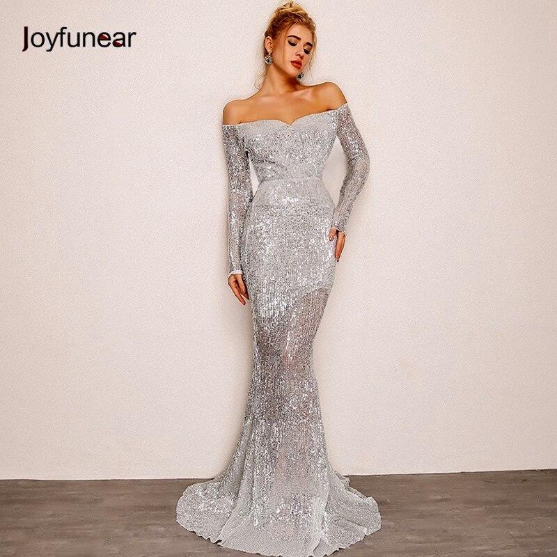 Longueur parole Sequin silver Femmes pink Robes Long Robe Sexy champagne Joyfunear Parti Trompette Sirène Automne Argent Devrait 2018 Off Rblue RqSvx1w