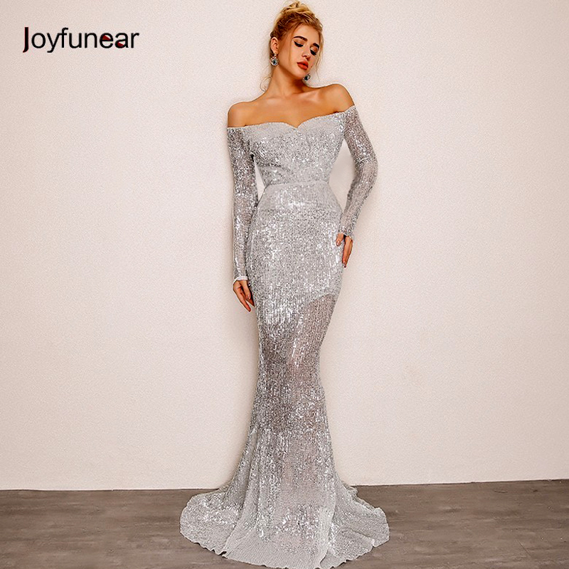 Joyfunear Off Shoulder Sequin Dress 4DHM673