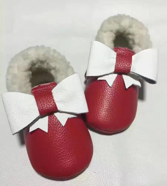 New winter Genuine Leather Baby Moccasins True wool soft sole solid design Baby  Shoes princess bow mary jane toddler shoes-in First Walkers from Mother    ... f90c8d49a766