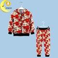 Flower clothing set 2016 girls clothes fashion coat + long pants 2pc sport suit kids children clothing cotton girl outfit set
