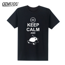 2019 New Fashion T Shirt Keep Calm And Carry On Snorlax Sleep On Pokemon T-shirts Men Cotton O Neck Casual Graphic Short Sleeve