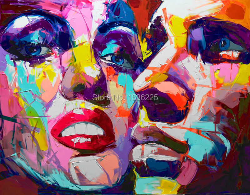 Us 53 0 50 Off Handpainted Modern Abstract Paintings Couple Faces Pictures Figures Face Oil Painting Woman And Man Colorful Face Photos In Painting