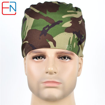 Hennar Men Scrub Caps Mask  Medical Surgical Camouflage Hospital Clinical Accessories Cotton Comfortable Soft Medical Hats