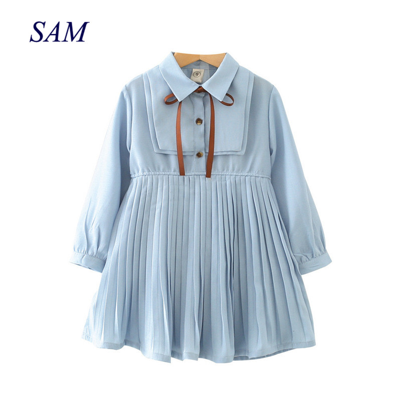 b6f2ef353 2019 الخريف الفتيات اللباس الشيفون طية صدر السترة التعادل طويلة الأكمام  مطوي كلية فساتين للأطفال الاطفال الملابس