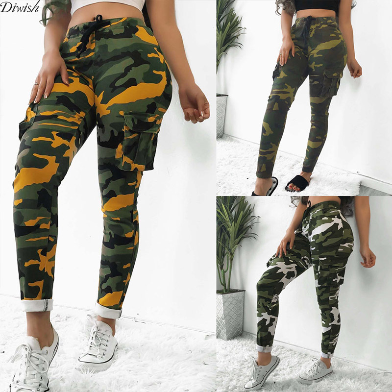 Diwish New Arrival Women Camouflage Print Pants With Pockets Lady Outdoor Sport Drawstring Pants Sexy Fashion Slim Pants
