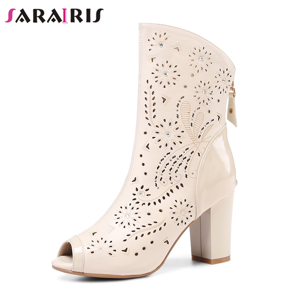 SaraIris New Genuine Leather Solid Hollow Square High Heels Peep Toe Zip Shoes Woman Casual Spring